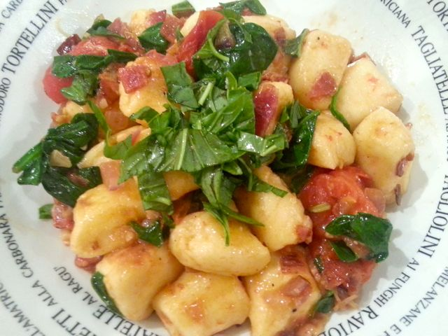 Pan Fried Gnudi AKA Ricotta Gnocchi. With roasted cherry tomatoes and pancetta