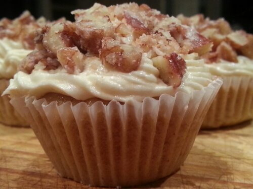 Banana and Maple Syrup Cupcakes with Maple Buttercream and Sugared Pecans