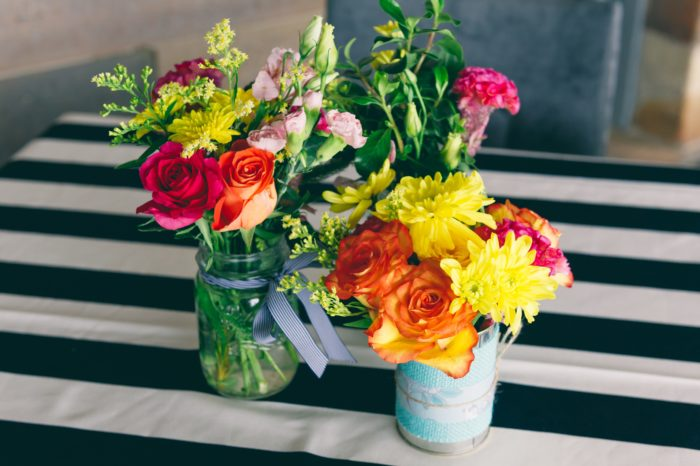 Wedding Flowers in Tin Cans