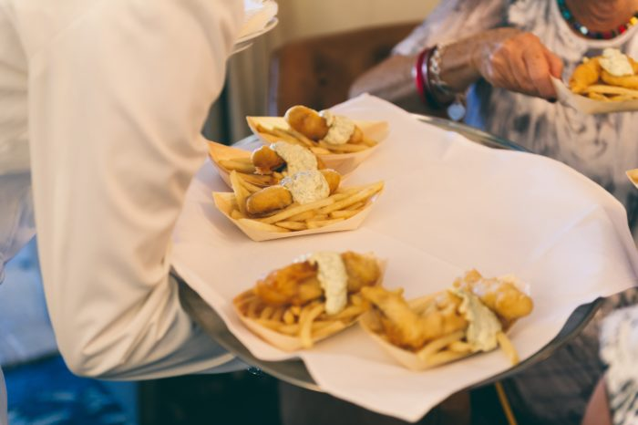 Foodie Wedding Canapes - fish and chips